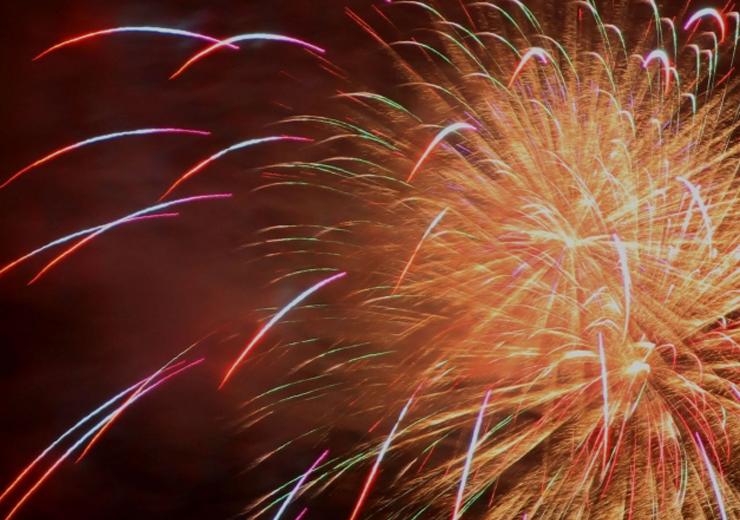真庭市で開催された花火大会の駐車場案内